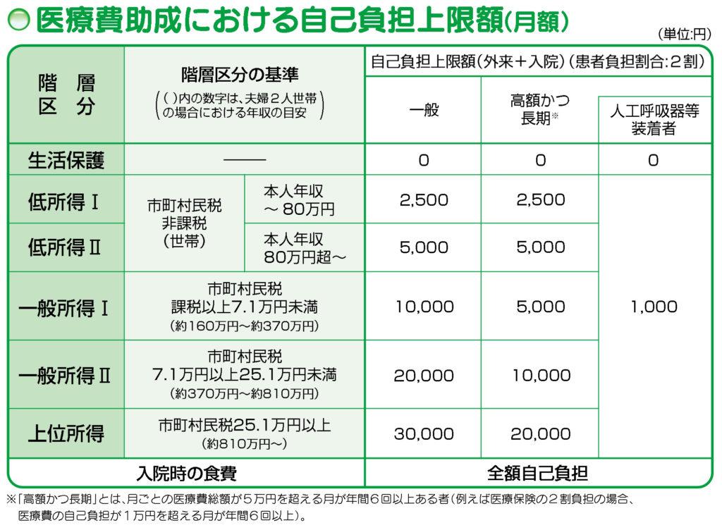 医療費助成における自己負担限度額