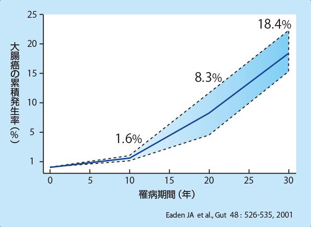 潰瘍性大腸炎の累積大腸癌発生率