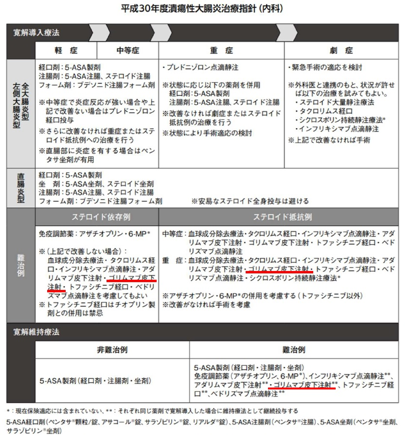 潰瘍性大腸炎治療指針(内科)